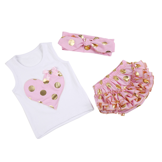 0a52ed63b88a (DEWDROP)Baby Girls Heart Vest with Gold Polka Dot Knotted Headband Ruffle  Bloomers Diaper Cover 3pcs/Set First Birthday Outfit