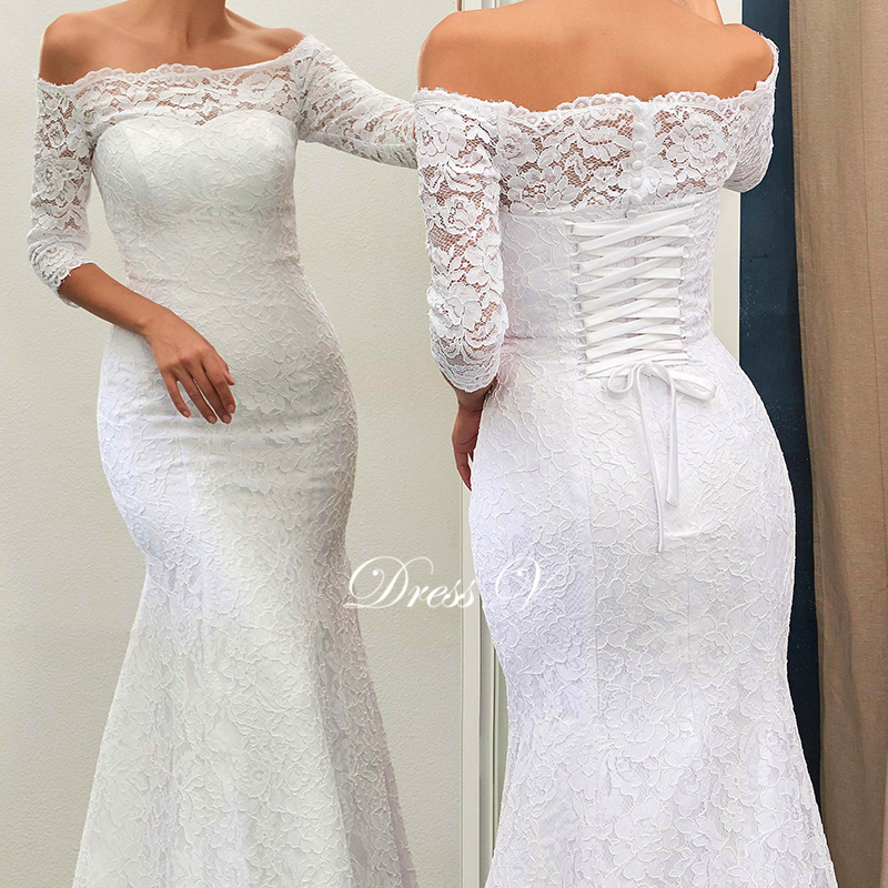 Dressv ivory lace mermaid beach wedding dress 2017 off the for Beach wedding dresses with sleeves