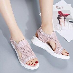 Image 3 - STQ kobiety sandały 2020 buty damskie kobiety lato Wedge Comfort sandały damskie płaskie Slingback sandały na płaskim obcasie kobiety Sandalias 7739