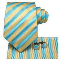 SN-3134 Men Tie Woven 100% Silk Necktie New Yellow Blue Striped Handkerchief Party Wedding Classic Fashion Pocket Square Tie Set 2