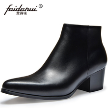 Spring Autumn High-Top Man Motocycle Riding Shoes Genuine Leather Pointed Toe Zip High Heels Men's Cowboy Ankle Boots SS27