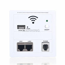 AP Indoor Wall Embedded Wireless WiFi 86 Network Panel RJ45 RJ11 USB Charger Socket Home Router with Switch 5V 2A HY1268(Hong Kong)