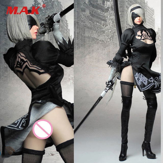 """In Stock Collectible SET015 NIER AUTOMATA YORHA 1/6 Female Clothes Suit & Head & Weapon Accessories For 12"""" Suntan Body"""