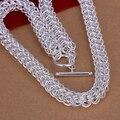 2017 collar de gargantillas de Plata Plateado y Estampada 925 círculo completo enlaces 10mm amplia mesh cadenas hombres collares jewerlly colar N139