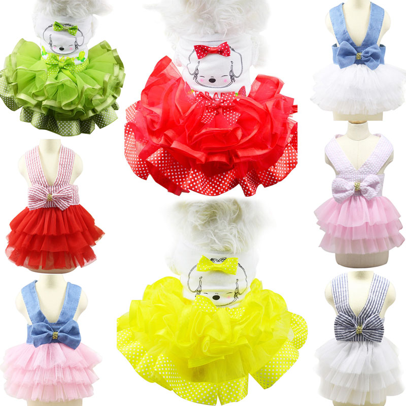 Cute Bow <font><b>Dog</b></font> <font><b>Dress</b></font> Tutu Skirt Summer Puppy Clothes Princess <font><b>Dog</b></font> Wedding <font><b>Dress</b></font> Small <font><b>Dog</b></font> Clothes For Chihuahua Yorkie <font><b>XS</b></font>-XXL image