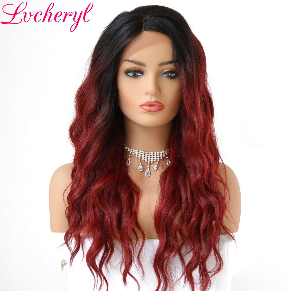 Lvcheryl Trendy Hand Tied 2 Tone Black To Wine Red Deep L Parting Loose Wave Heat