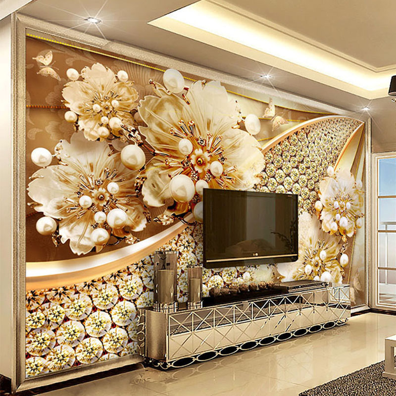 Custom Photo Wallpaper 3D Embossed Gold Jewelry Flower Mural European Style Living Room TV Background Wall Painting Luxury Decor