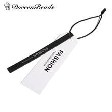 """DoreenBeads Бумага этикетки прямоугольник черные и белые сообщение узор сумки обувь, одежда теги 11,8 см(4 5/"""") x 1 см(3/8""""), 10 комплектов"""