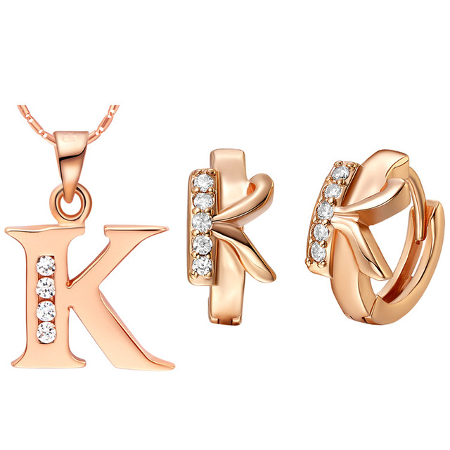 Luxury Women S Necklace Earrings Jewelry Sets Sa Made Of 26 Letters Set Two Color K