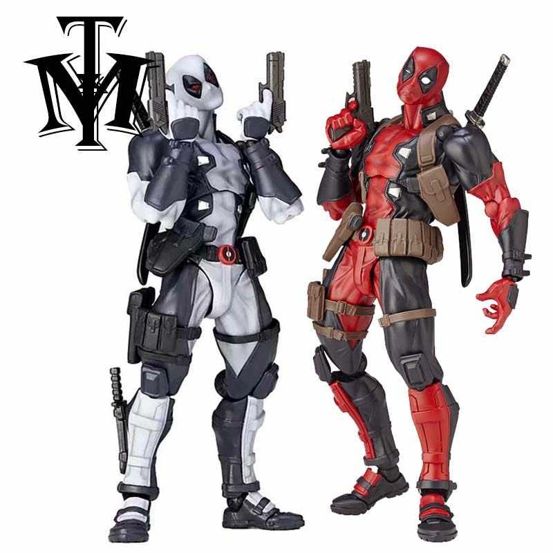 """Anime Super Hero Series NO. 001 Cinza Deadpool Figuras de Ação PVC Vermelho X-men Crianças Brinquedos Bonecas Colecionáveis Com caixa de varejo 6 """"15 cm"""