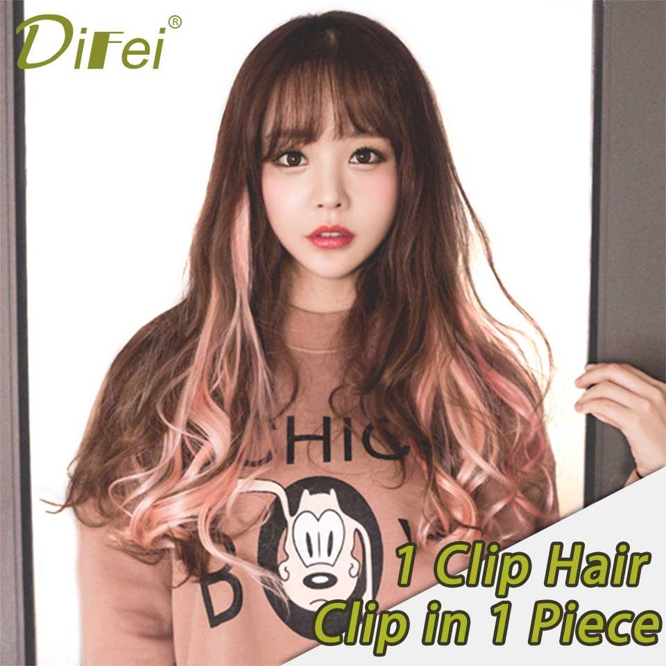 DIFEI Clip In Hair Extensions 50Cm 16 Inch Long Ombre One Piece Synthetic Straight Fake Hair Clip Tow Tone Pink Purple Blue