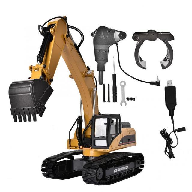 1580 2.4G 23CH RC חופר צעצוע 1/14 בקנה מידה מתכת הנדסת רכב עם LED פלאש סורק מכוניות משאית צעצוע