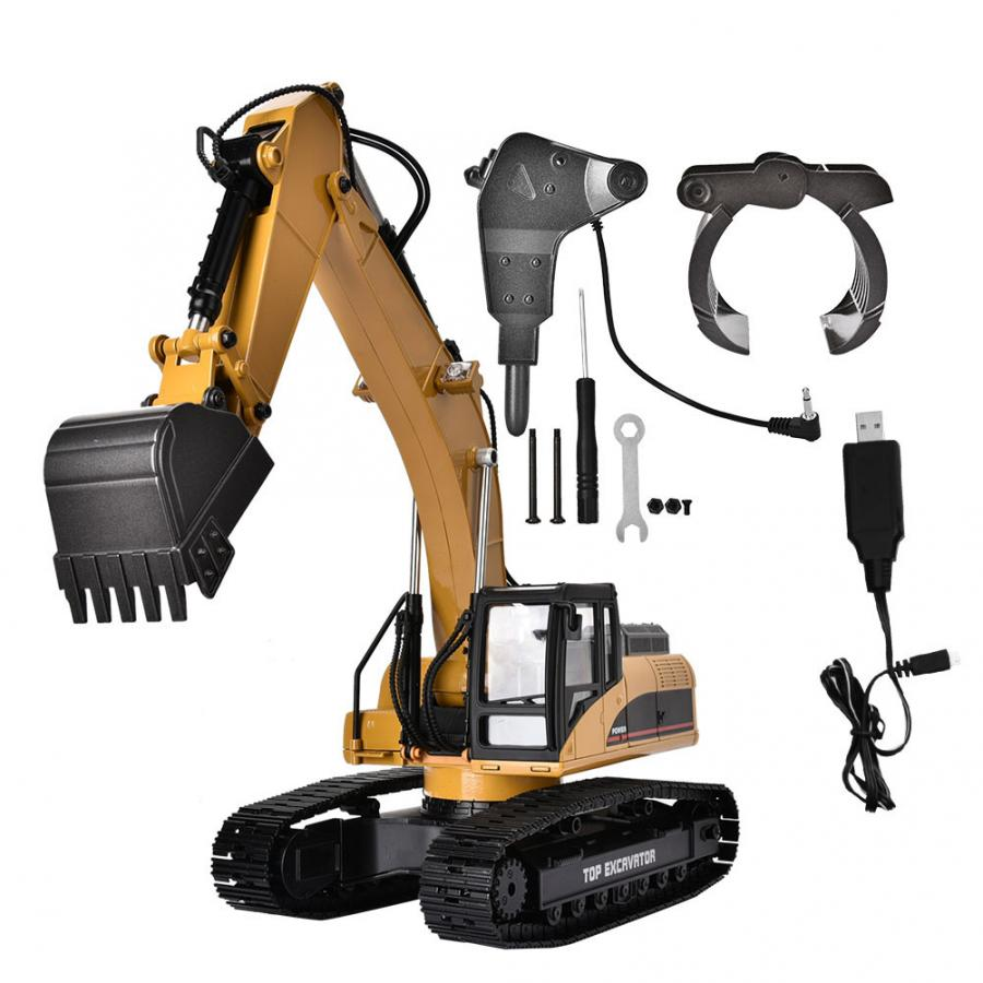 1580 2.4G 23CH RC Excavator Toy 1/14 Scale Metal Engineering Vehicle with LED Flash Remote Control Crawler Cars Truck Toy-in RC Cars from Toys & Hobbies    1