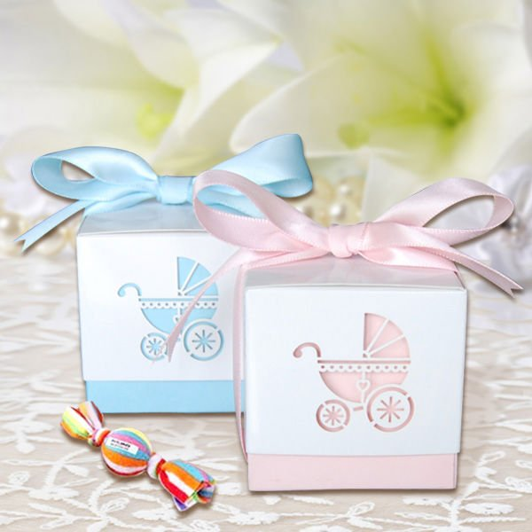 Free Shipping MOQ120pcs Red Leaves Baby Shower Paper Candy Box Baby  Carriage (blue And Pink