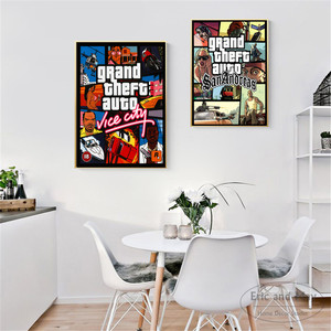 GTA 5 San Andreas Vice City Vintage Canvas Art Print Painting Poster Wall Pictures For Room Home Decoration Wall Decor No Frame(China)
