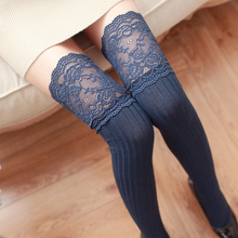 1Pair Fashion Sexy Lace Stockings Warm Thigh High Stockings Over Knee Socks Long Stockings For Girls Ladies Women 4 Solid Colors