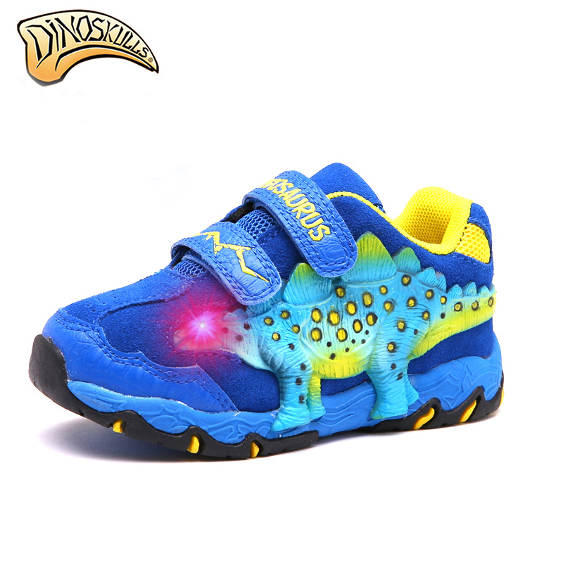 Dinoskulls 2019 kids boy shoes glowing dinosaur sneakers children led boy kids sports shoes Fashion Tenis Infantil Sneakers-in Sneakers from Mother & Kids    1