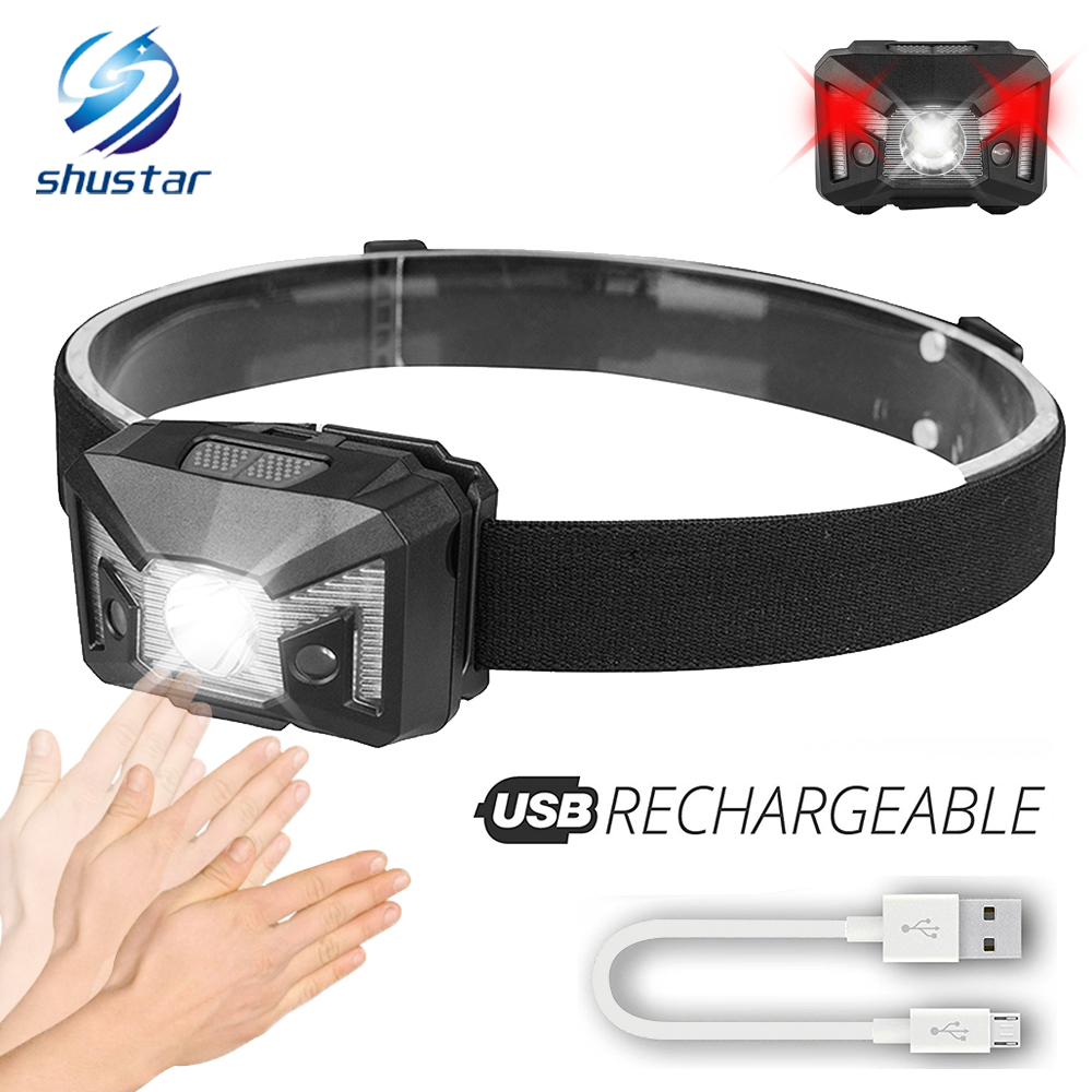 Glare Rechargeable LED Headlamp Induction switch Headlight White light+Red light 5 lighting modes For Used for running,fishing