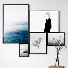 Black White Girl Tree Sea Coast Abstract Nordic Posters And Prints Wall Art Canvas Painting Pictures For Living Room Salon