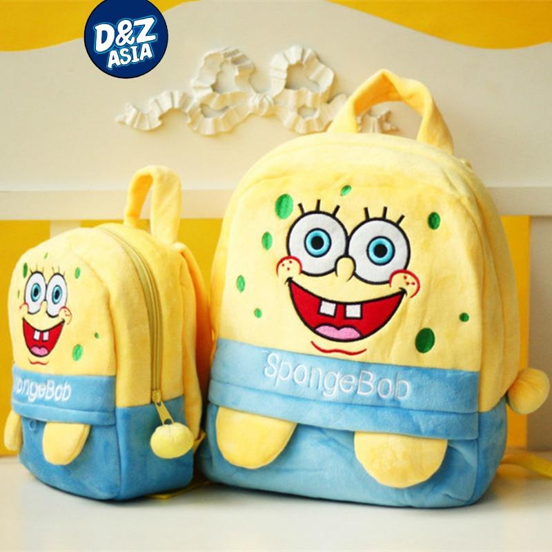 Cartoon plush toy backpack children shoulder bag baby backpack schoolbag SpongeBob kawaii backpack for girls