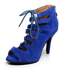 New Wholesale Blue Suede Latin Tango Ballroom Dance Shoes Open Toe Ballrrom Shoes All Size