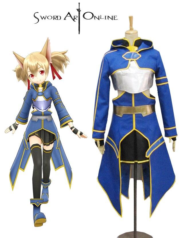 Здесь продается  Sword Art Online II Silica ALO Cait Sith Blue Anime Cosplay Costume  Одежда и аксессуары