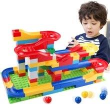 New Bead Sliding Track Stacking Building Blocks DIY Marble Run Construction Toys Bricks Toy for Children Kids Gift