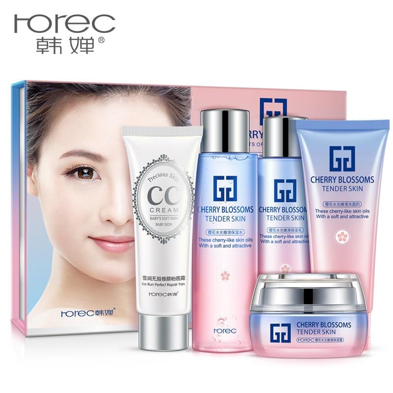 ROREC Sakura Brightening & Tender Set Skin Care Nourishing Anti-aging Anti-wrinkle Cleanser, Toner, Lotion, Cream, CC Cream chanel 5ml cc cc cream