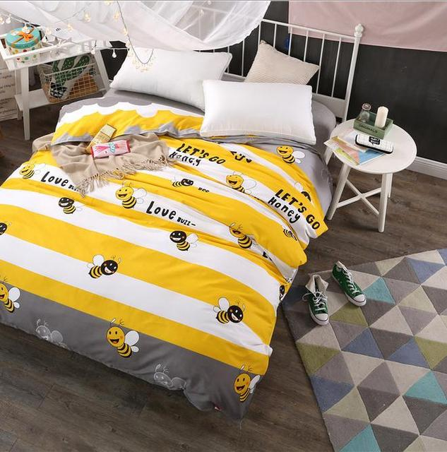Yellow Bee Duvet Cover 100% Cotton Twin Full Queen King Size Duvet Cover  Comforter Cover