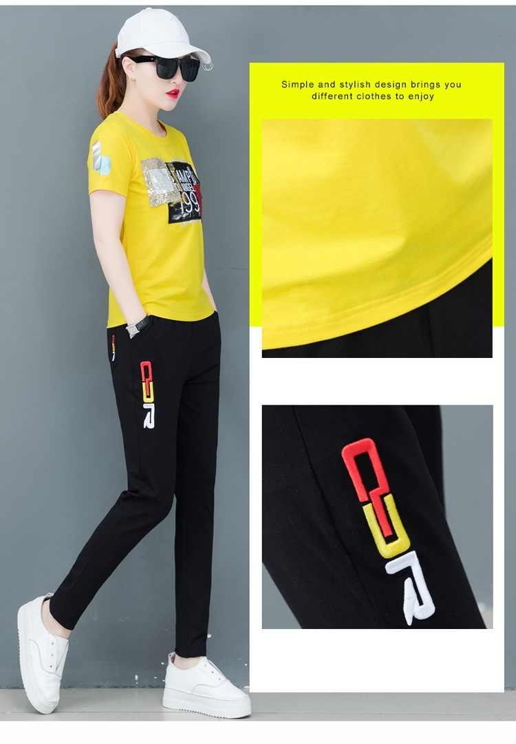 レジャースポーツスーツ女性の夏の女性スーツ大サイズ半袖のトラックスーツファッションツーピースセットトップとパンツ