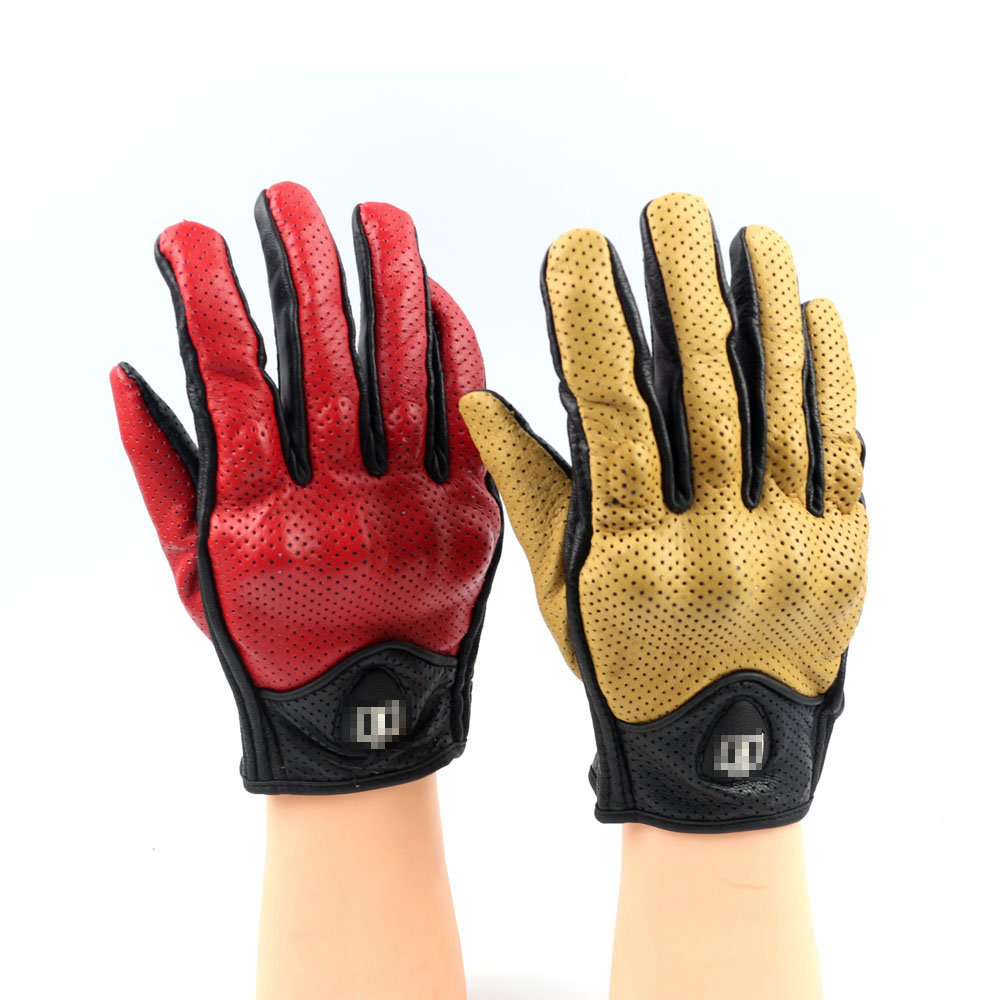 Yellow leather driving gloves - Free Shipping New Real Leather Motorcycle Gloves Moto Gloves Protective Gears Motocross Glove Red And Yellow
