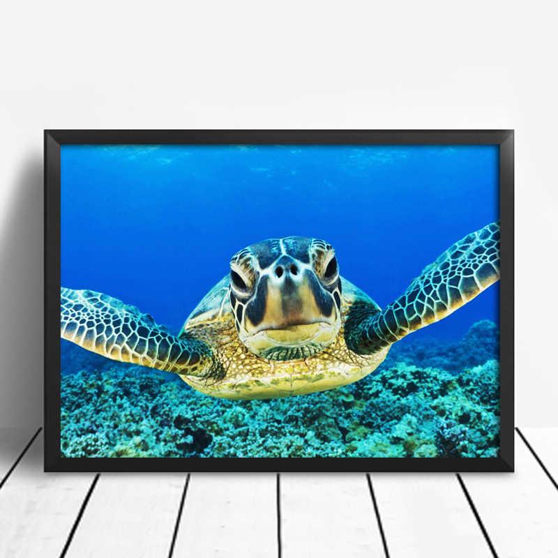 Blue World Cat Air Sea Turtle Dinding Seni dan Poster Kanvas Lukisan Gambar untuk Ruang Tamu Kura-kura Anak Rumah dekorasi