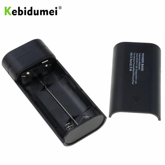 Kebidumei 2X18650 USB الطاقة جراب لشاحن البطارية الاحتياطية لتقوم بها بنفسك صندوق للهاتف poverbank آيفون المحمولة شحن بطارية خارجية