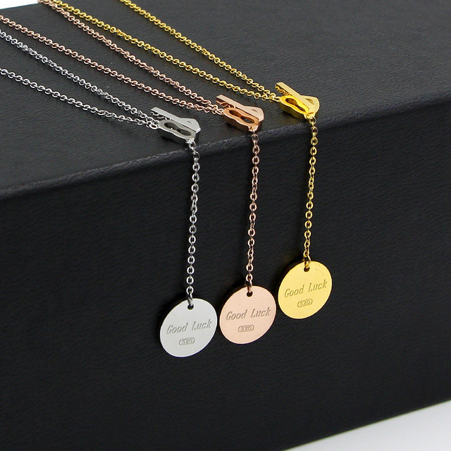 Stainless Steel peach pie rose gold color love Pendant Necklace