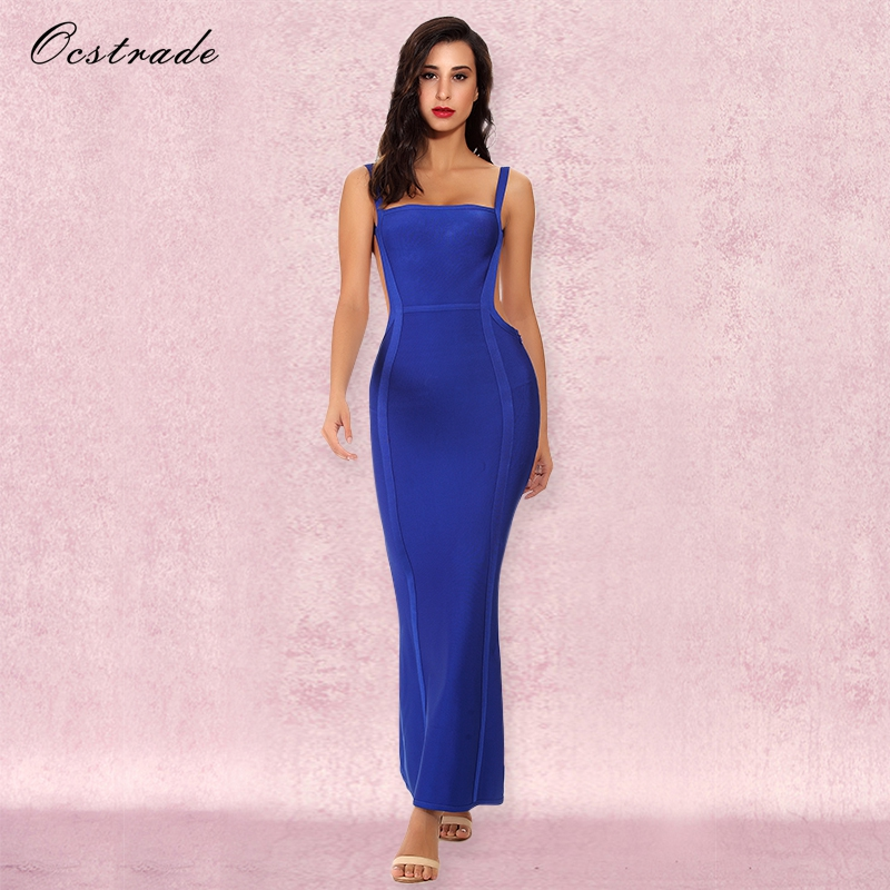 Ocstrade אישה המפלגה אלגנטית ארוכה השמלה Vestido קיץ 2018 חדשות עזיבות גבירותיי כחול הולו מתוך סקסי שמלת תחבושת Maxi הארוך