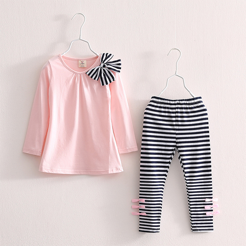 Kids Clothes Girls Sets 2018 New Cotton Casual Children Clothing Set Long Sleeve Tops + Pants Striped Leggings Baby Kids Suits side striped leggings