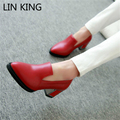 LIN KING Hot Sale Women Pumps Solid Slip On High Heel Shoes Thick Square Heel Platform Shoes Pointed Toe Office Big Size Pumps