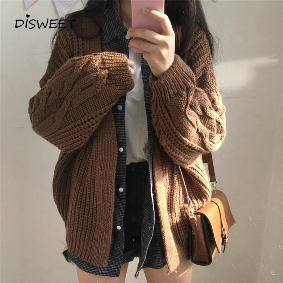 2019 Autumn Knit Sweater Harajuku Loose Warm Cardigan Women's Clothing Casual Long Sleeve Winter Coat Fashion Solid Color Coat