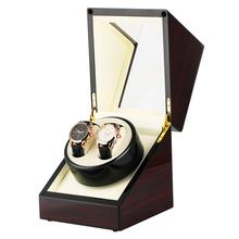 Automatic Watch Winder Box Luxury Storage Winder Case for 2 Wristwatches Piano Paint Red Gloss Watchwinder Box motor relogio led