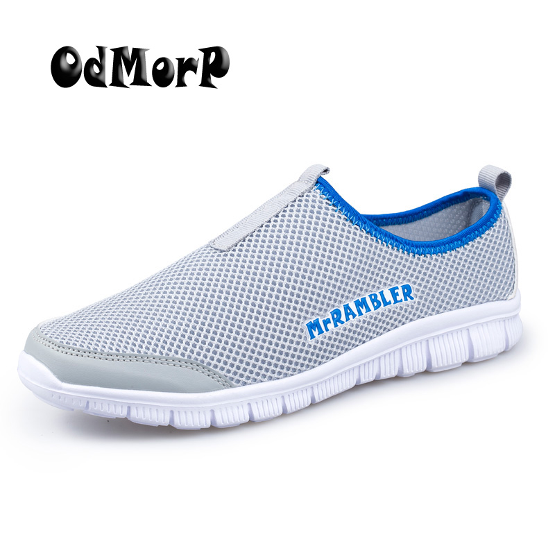 ODMORP Summer Men's Shoes Slip On Network Casual Shoes Men Footwear Breathable Mesh Loafers Size Plus EUR 40-47 Light Zapatos sheer plus size mesh slip babydoll