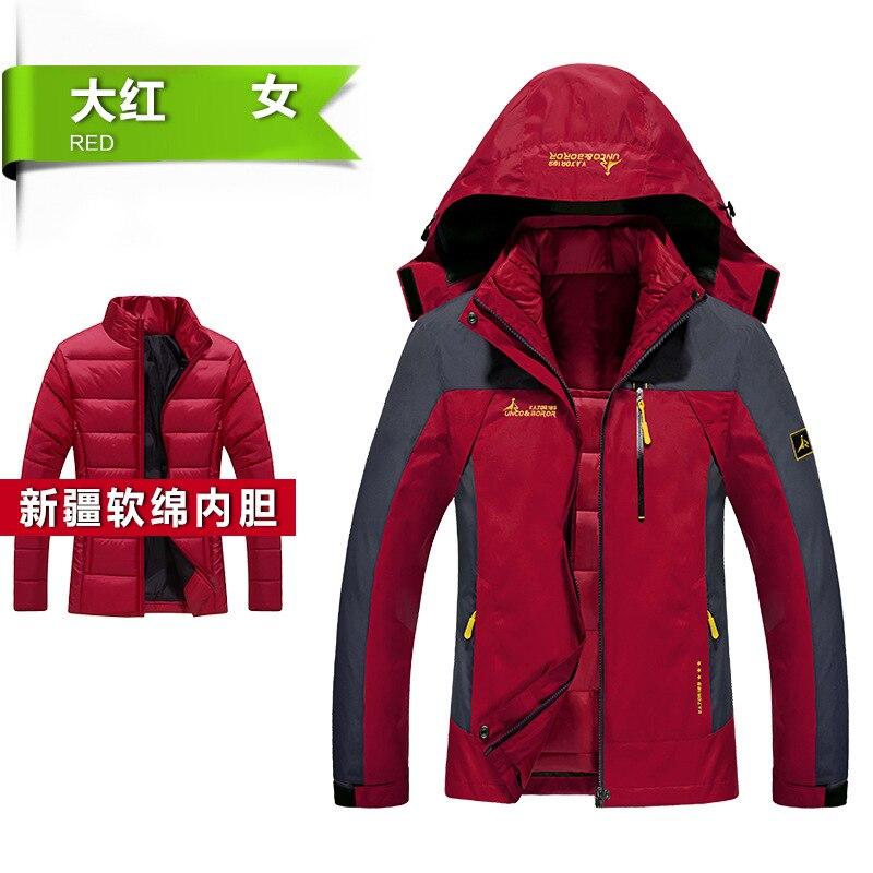ФОТО 2017 3 In 1 Softshell Jacket Men Waterproof Hiking Male Thick Outdoor Jacket Print Multi-color Mens Windproof Jacket Coat