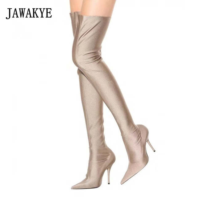 9c24f98800f JAWAKYE Purple Candy Color Over The Knee Boots Women Sexy Point toe  Stiletto High Heel Thigh