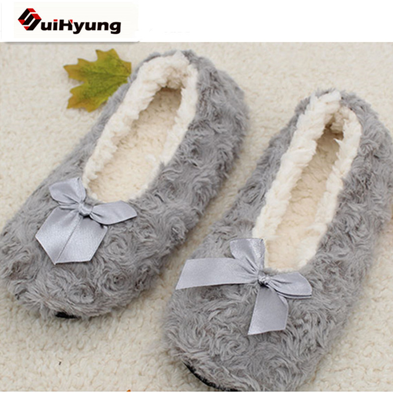 New Winter Warm At Home Women Slippers Cotton Shoes Plush Female Floor Shoes Bow-knot Fleece Indoor Shoes Woman Home Slippe rainbow bowl new autumn women home soft plush slippers winter warm cotton padded shoes coral fleece indoor shoes floor socks