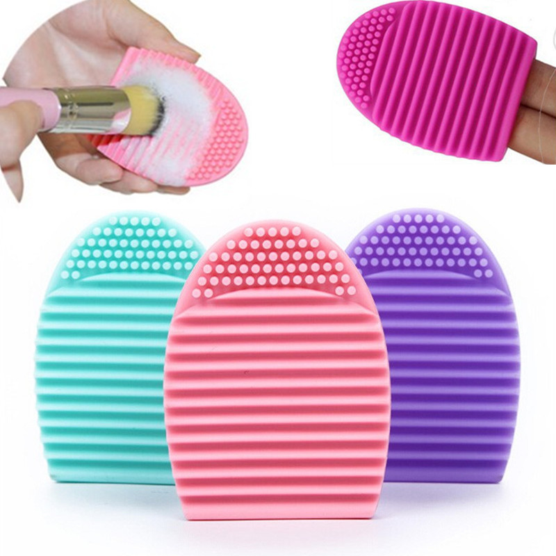 1PC Women font b Makeup b font Brush Cleaner Silicone Glove Scrubber Wash Cleaning Brushes Egg
