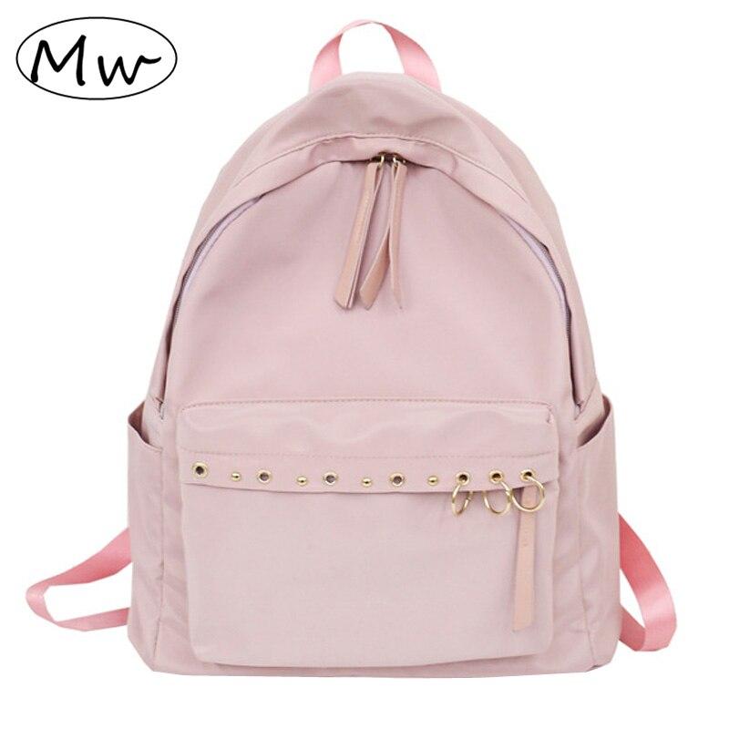 Moon Wood Harajuku Style Metal Ring Girls Backpack Nylon Bag Waterproof School Bag Back Pack Rucksack Women Notebook Backpack