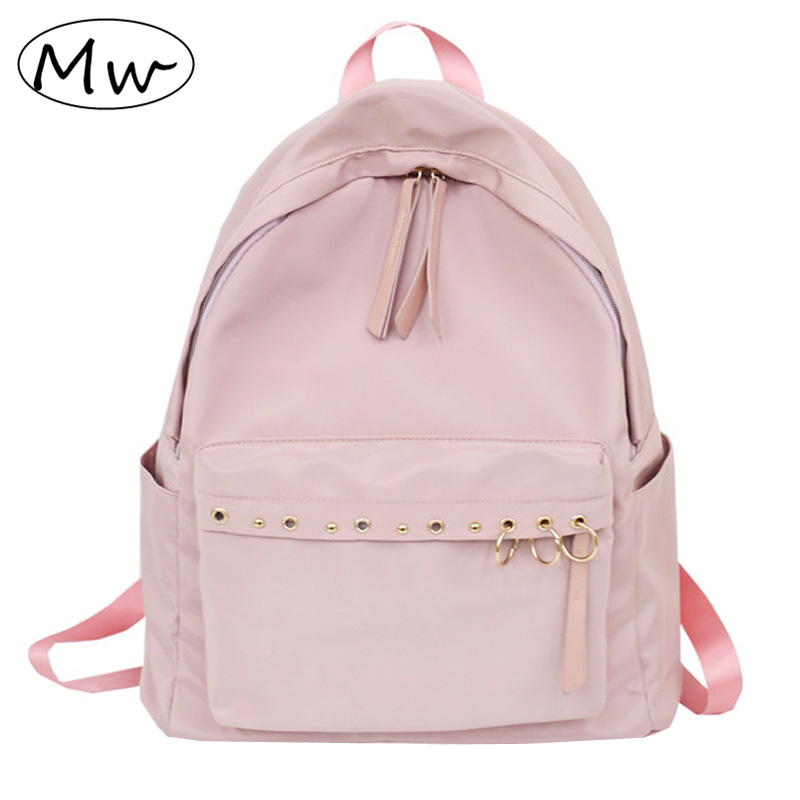 Moon Wood Harajuku Style Metal Ring Girls Backpack Nylon Bag Waterproof School Bag Back Pack Rucksack Women Notebook Backpack