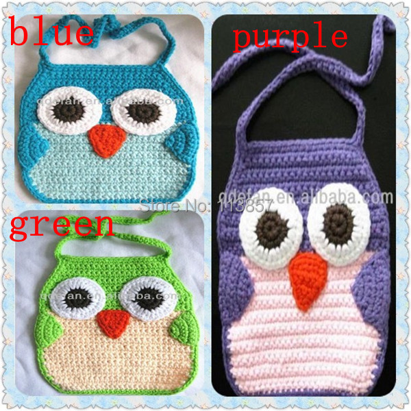 Animal Owl Patterns Hand Knitted Cutest Crochet Baby Bib Cloth In