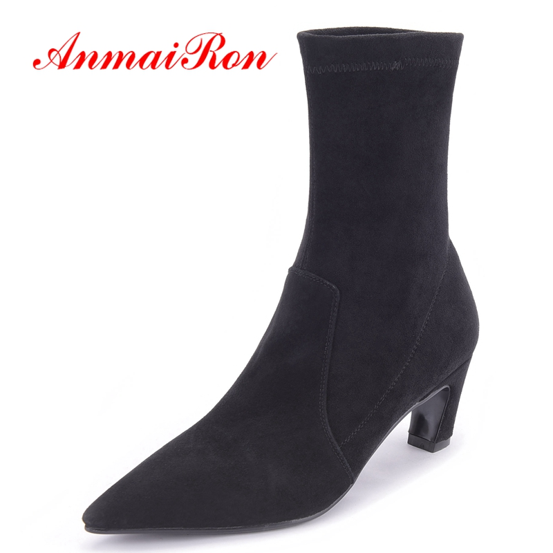 AnmaiRon New Fashion  Basic  Pointed Toe  Slip-On  Ankle Boots for Women  Womens Winter Fashion 2018 Size 34-38 LY295AnmaiRon New Fashion  Basic  Pointed Toe  Slip-On  Ankle Boots for Women  Womens Winter Fashion 2018 Size 34-38 LY295