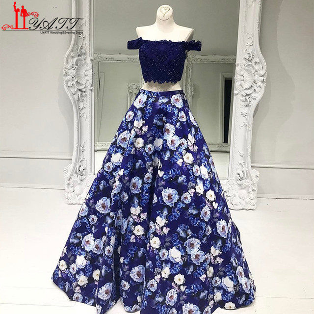 Flower Printed Off Shoulder Two Pieces Evening Dress Blue Floral Prom  Dresses 2017 Lace Sexy Long Evening Gowns Party Dress c0e7c8380dae