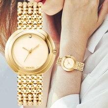 SMAEL moda altın kadın saatler Top marka lüks bayanlar kuvars kol saati saat rahat su geçirmez kol saati Relogio Feminino